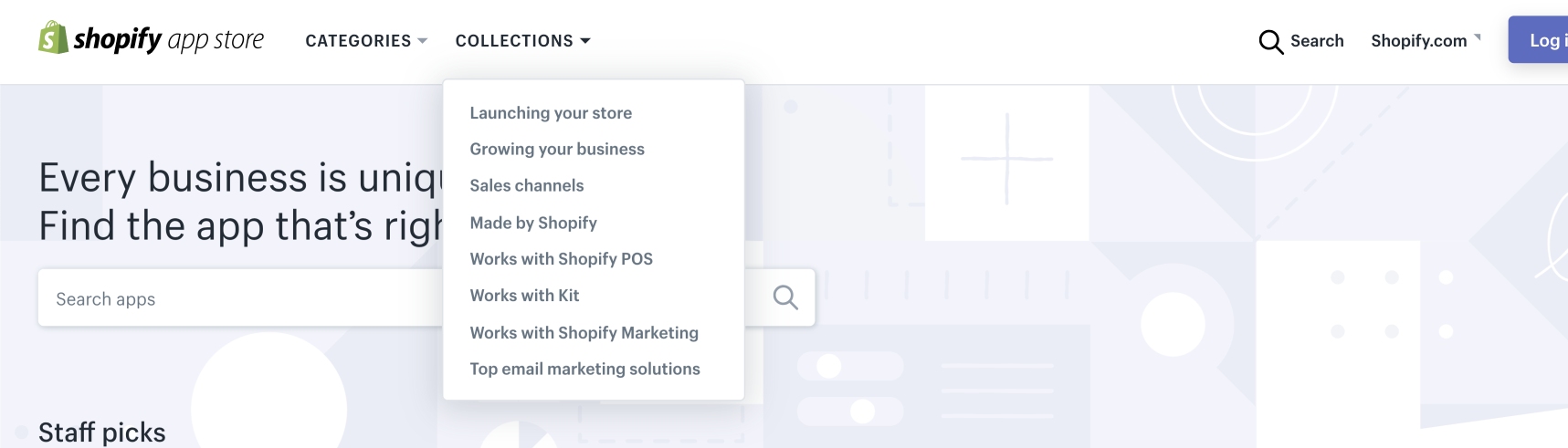 Shopify App Store Navigation Collections