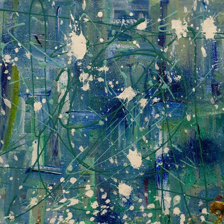 Beginning to Blue acrylic on cardboard 21x21cm. / Започвайки от синьо акрил върху картон