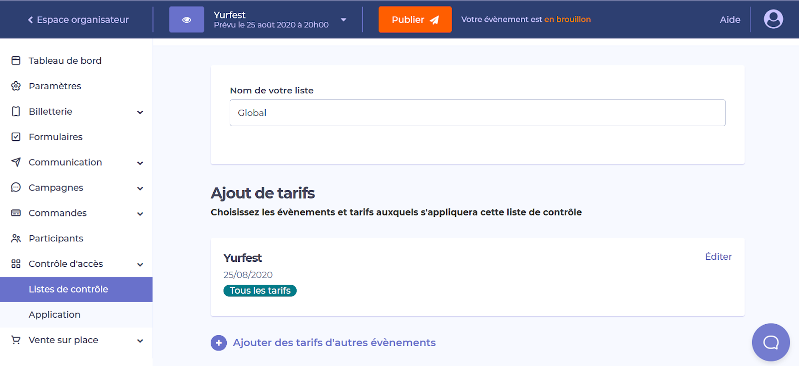 Capture d'écran de la plateforme Yurplan montrant la possibilité d'ajouter les tarifs d'autres évènements à sa liste de contrôle