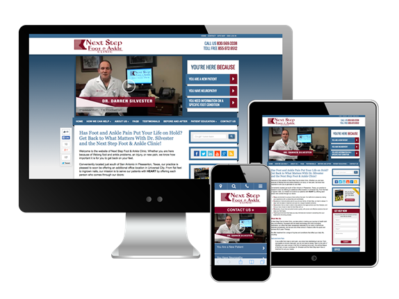Next Step Foot & Ankle Clinic website on all devices