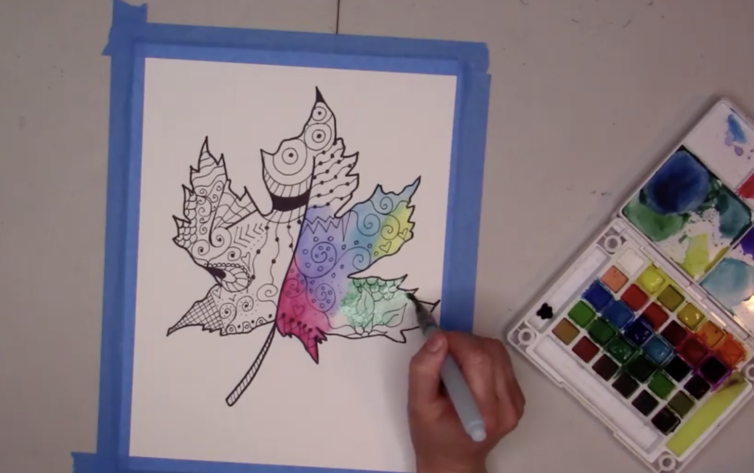 watercolor leaf