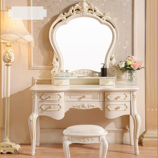 Bàn ghế trang điểm gỗ tân cổ điển màu trắng