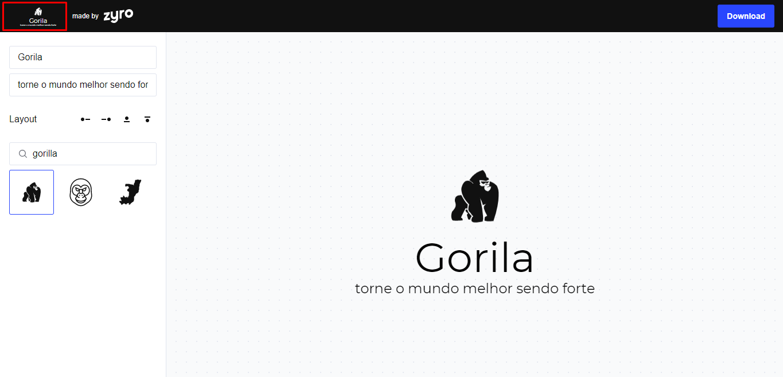opções no criador de logos do Zyro para editar o estilo do logo