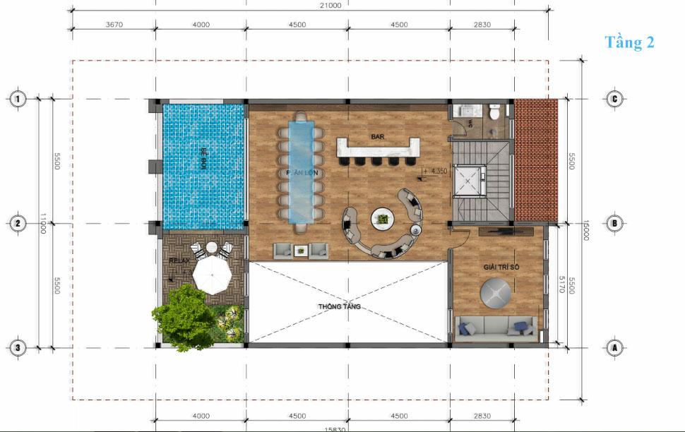 thiết kế tầng 2 biệt thự đơn lập Sunshine wonder villa