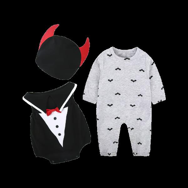 Baby Boy Little Dracula Costume Set with Jumpsuit + Romper + Hat