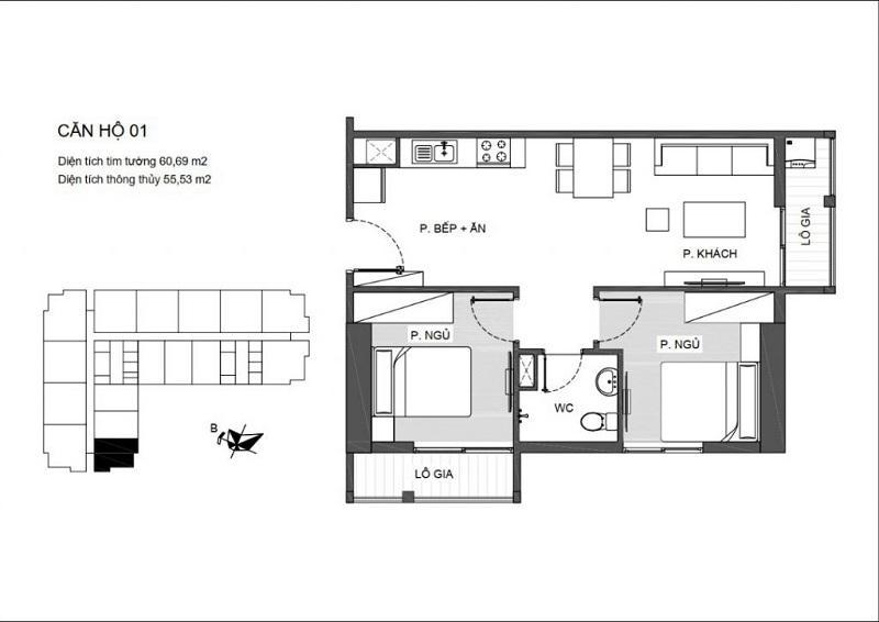 Thiết kế căn hộ 2 PN (1WC) chung cư An Bình Plaza ( căn hộ góc với 2 logia)