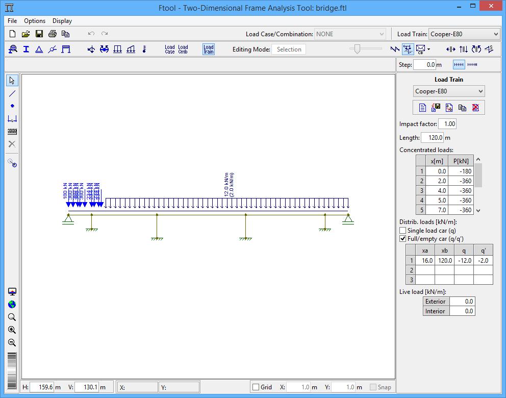 Com o Ftool é possível criar estruturas bidimensionais, inserir forças e marcações de pontos.