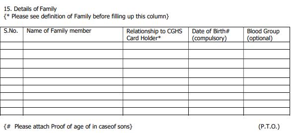 CGHS ऑनलाइन पंजीकरण फॉर्म
