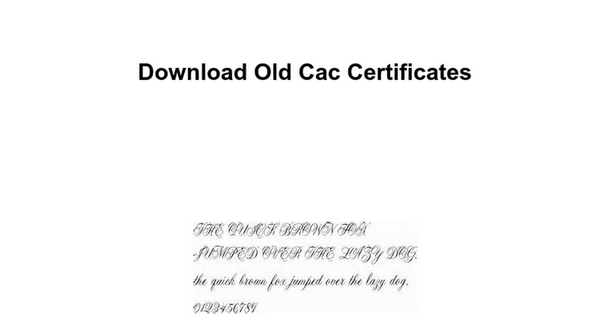 Download Old Cac Certificates Google Docs