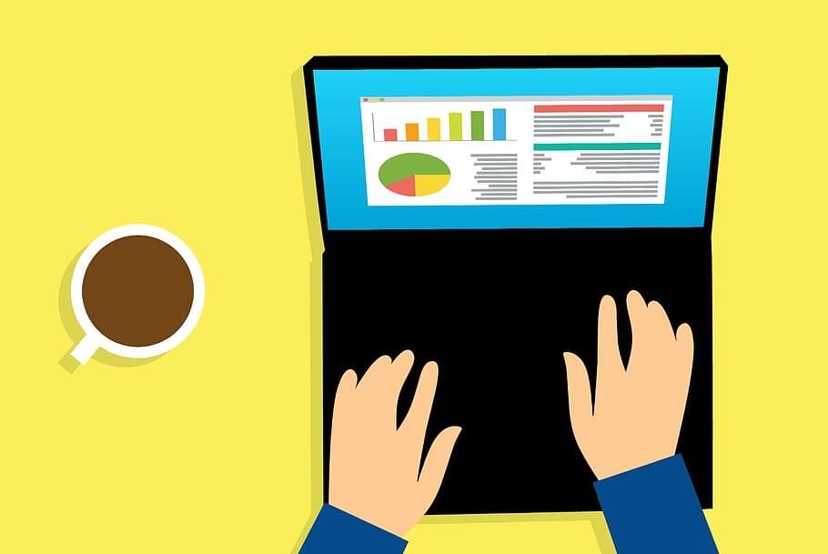 illustration, person typing, laptop computer, computer., analysis ...