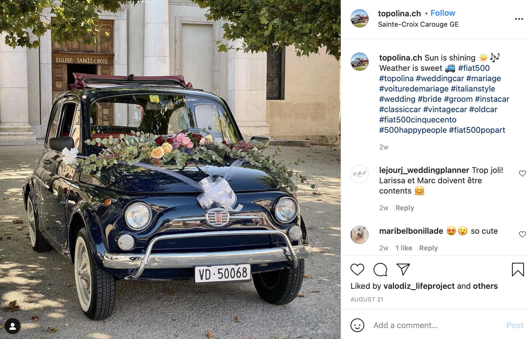summer wedding car idea
