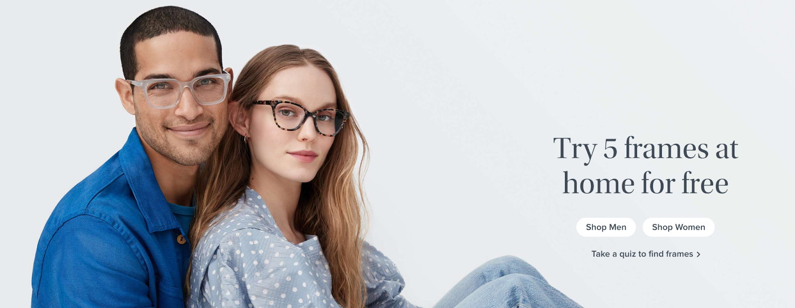 couple wearing glasses and try 5 frames for free from Warby Parker