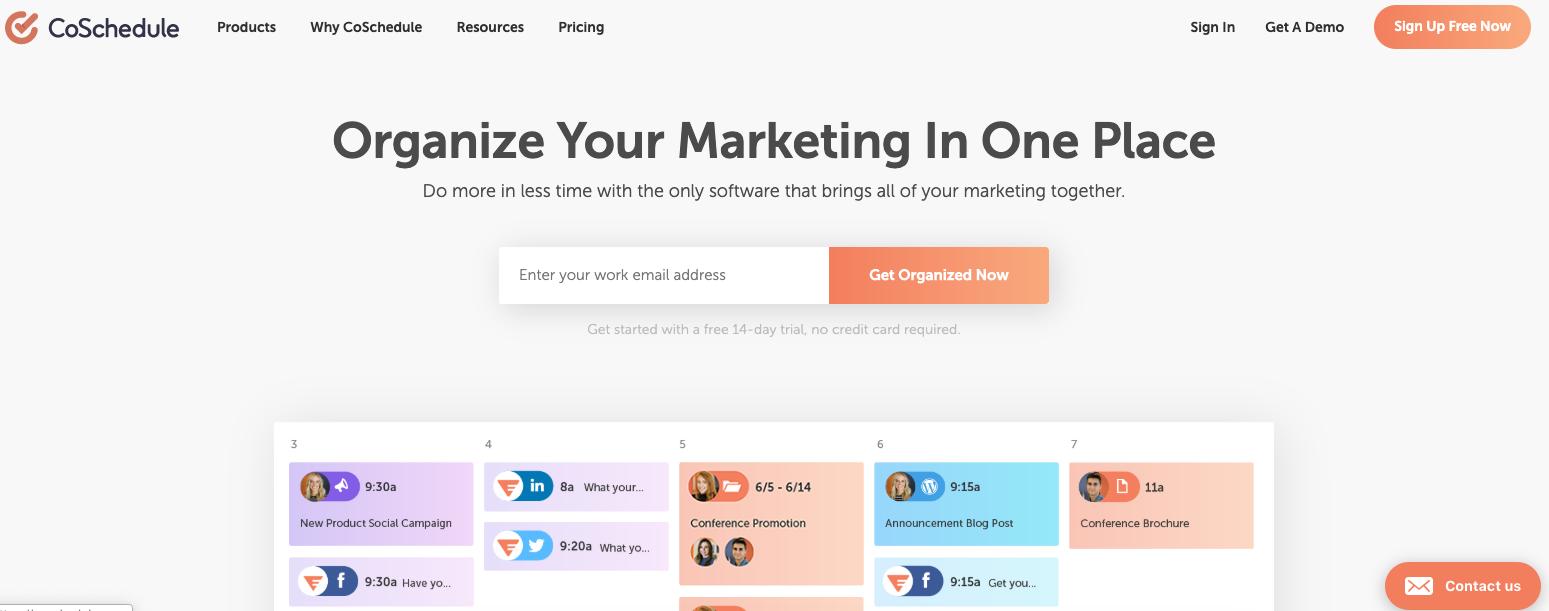 CoSchedule - organize digital marketing