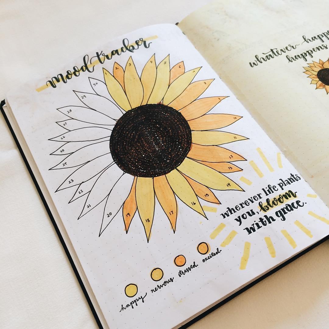 Sunflower bullet journal tracker