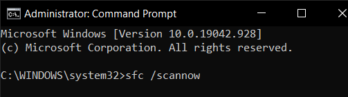 type in sfc /scannow
