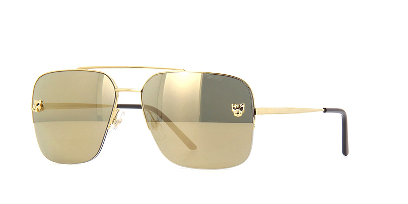 Cartier Panthere CT0244S 003 Smoke with Gold Mirror Sunglasses | Pretavoir