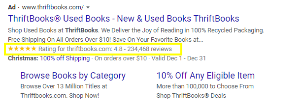 Google Seller Rating displayed on a text ad