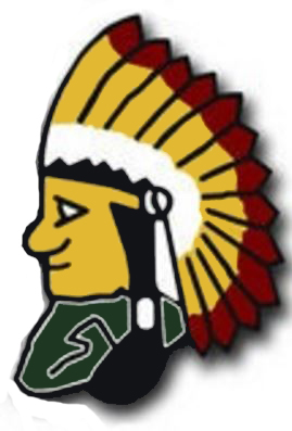 Indians 'chief' image wearing a yellow and red headdress and a green shirt.