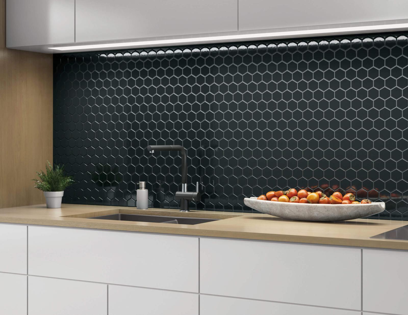 Black mosaic hexagon tile kitchen backsplash