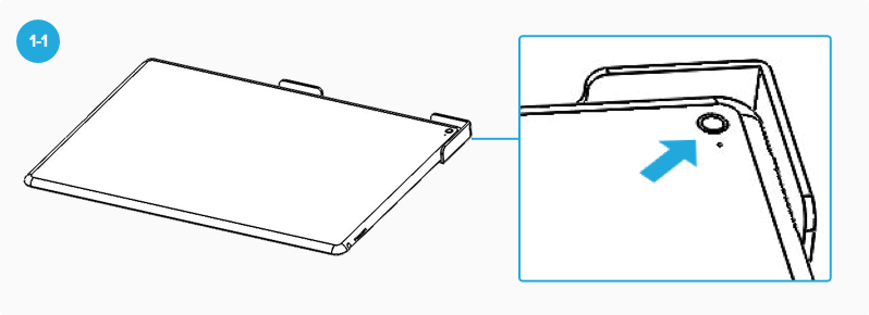 diagram showing bracket alignment tool flush to iPad