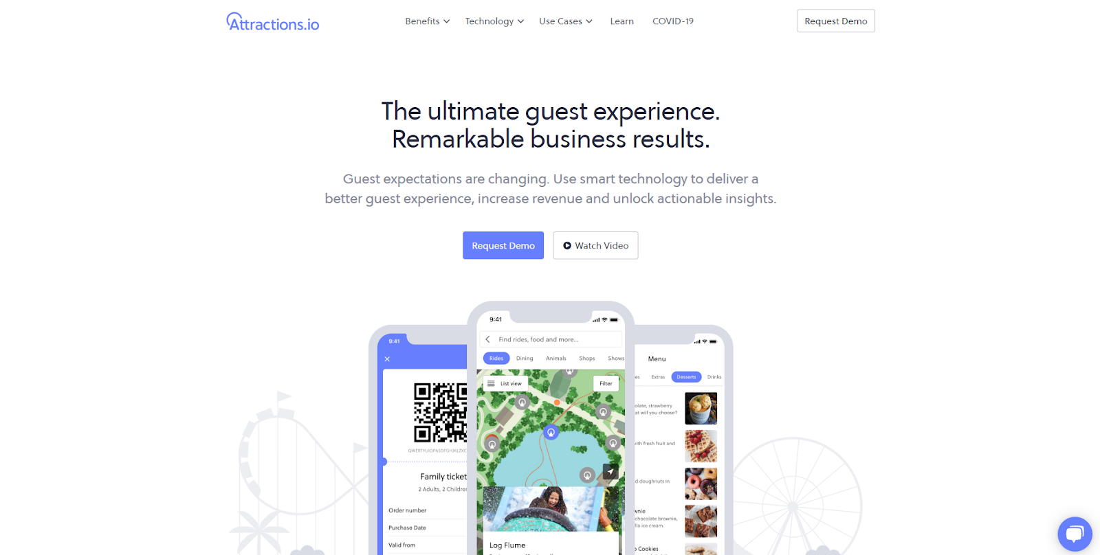 Attractions.io homepage screenshot with three mobile phones graphics