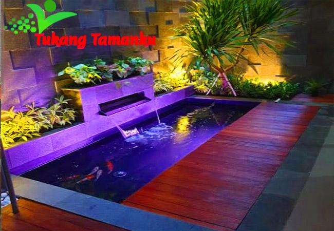 waterwall dan kolam minimalis