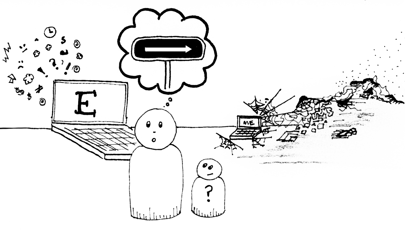 """A shocked looking weeble person with a smaller toddler weeble person with a questioning look stand amidst chaos. The laptop labeled """"E"""" is surrounded by the visual language of chaos while the laptop labeled """"me"""" sit amidst cobwebs and piles of trash"""