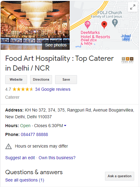 Catering business on google my business
