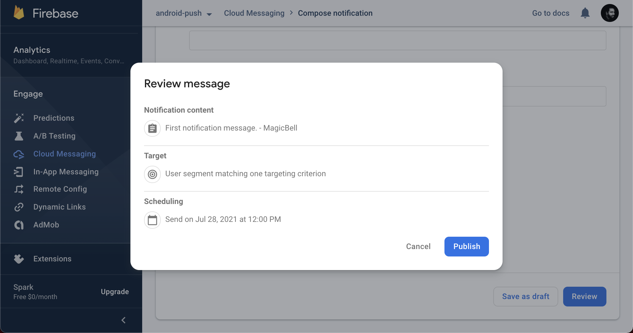 Review your message