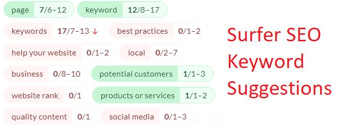 Surfer SEO tool suggestions