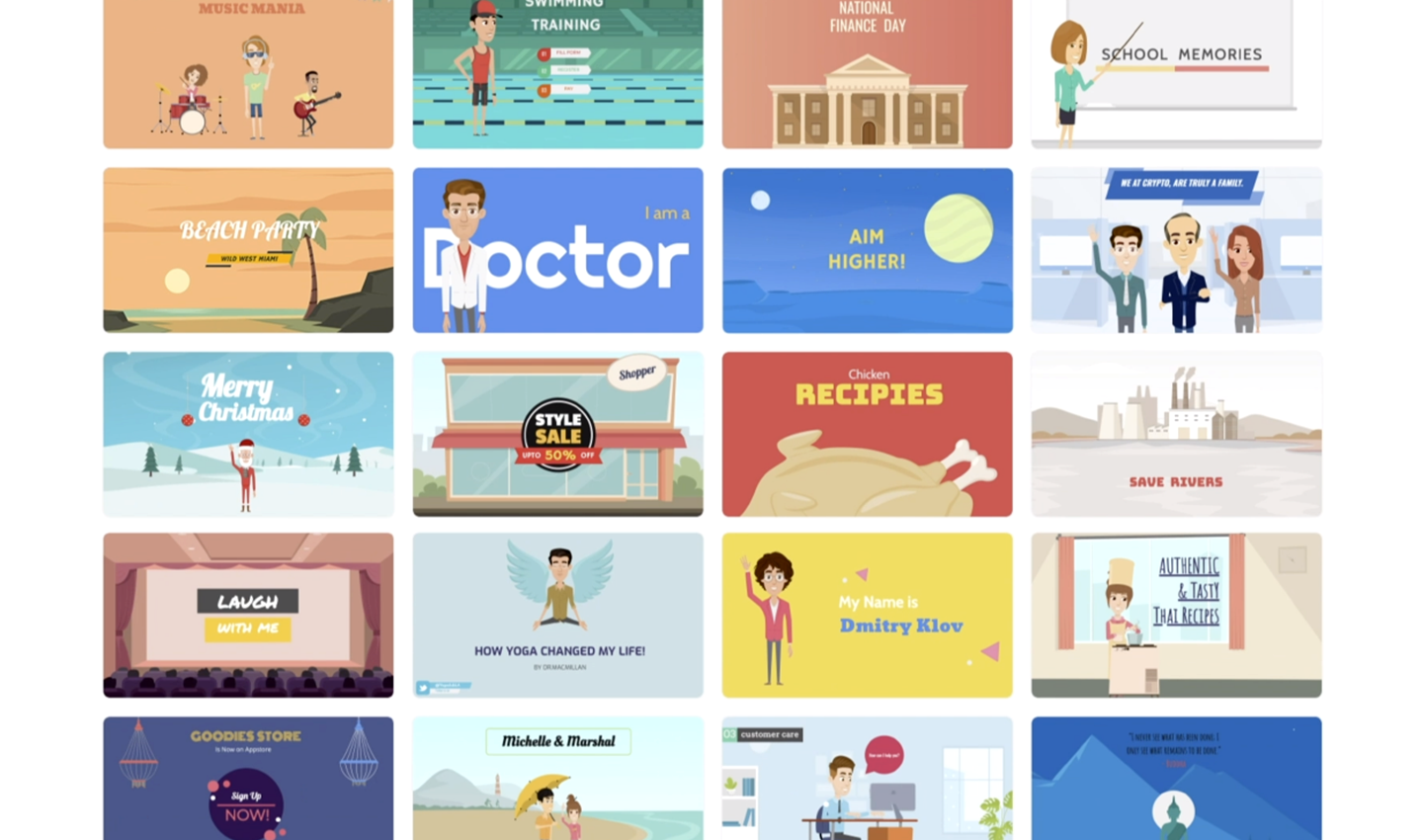 Animaker offers more than 70 video templates to help you get started quickly.