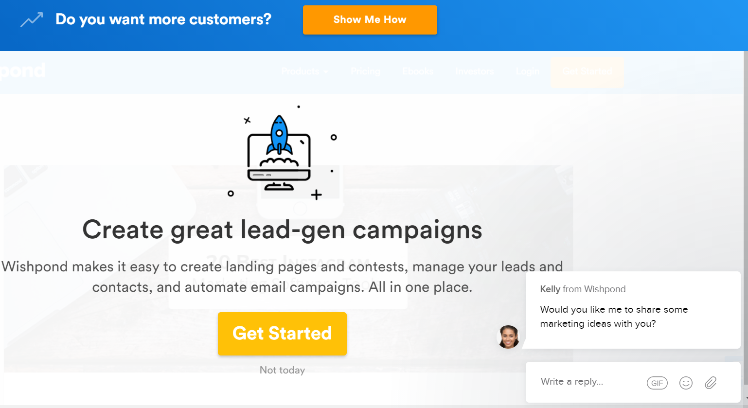Example of popups and offers on a web page to help generate leads.