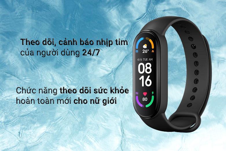 Vòng Đeo Tay Thông Minh Xiaomi Mi Smart Band 6 (Đen)   Theo dõi, cảnh bảo nhịp tim