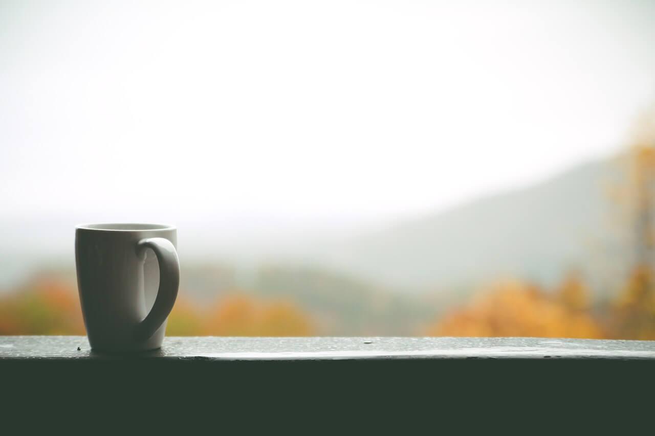 Coffee cup on window