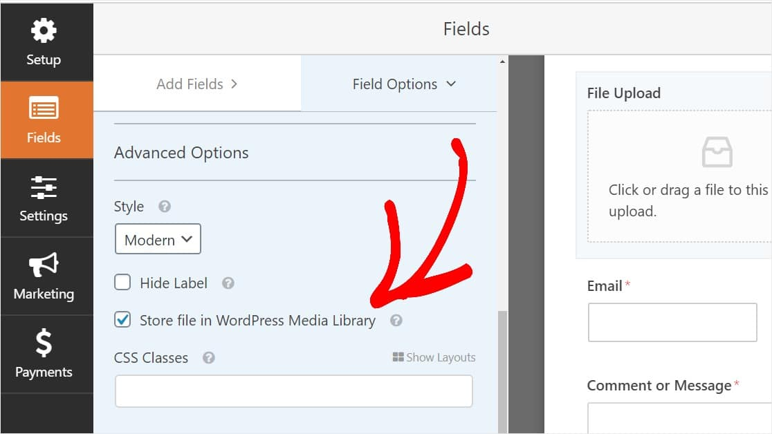Enable Store file in WordPress Media Library