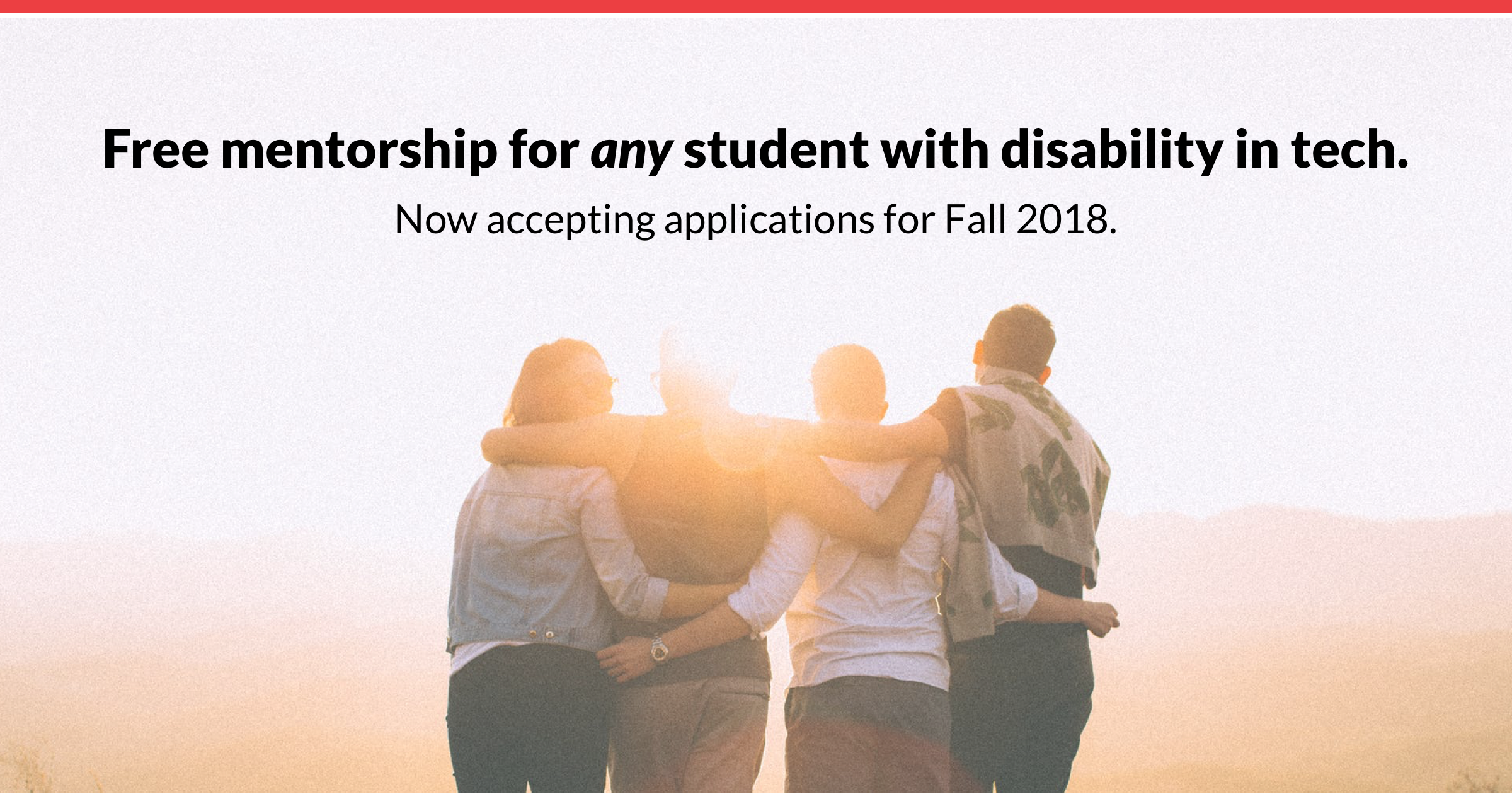 Free mentorship for any student with disability in tech in US & Canada. Now accepting applications for Fall 2018.
