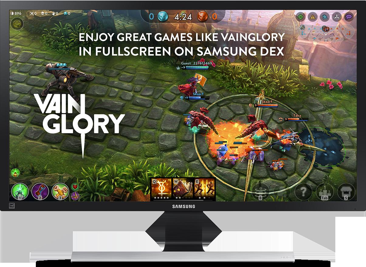 Hình ảnh màn hình khi chơi trò chơi VAINGLORY ở chế độ toàn màn hình với cụm từ 'ENJOY GREAT GAMES LIKE VAINGLORY IN FULLSCREEN ON SAMSUNG DEX' hiển thị ở đầu màn hình đó.