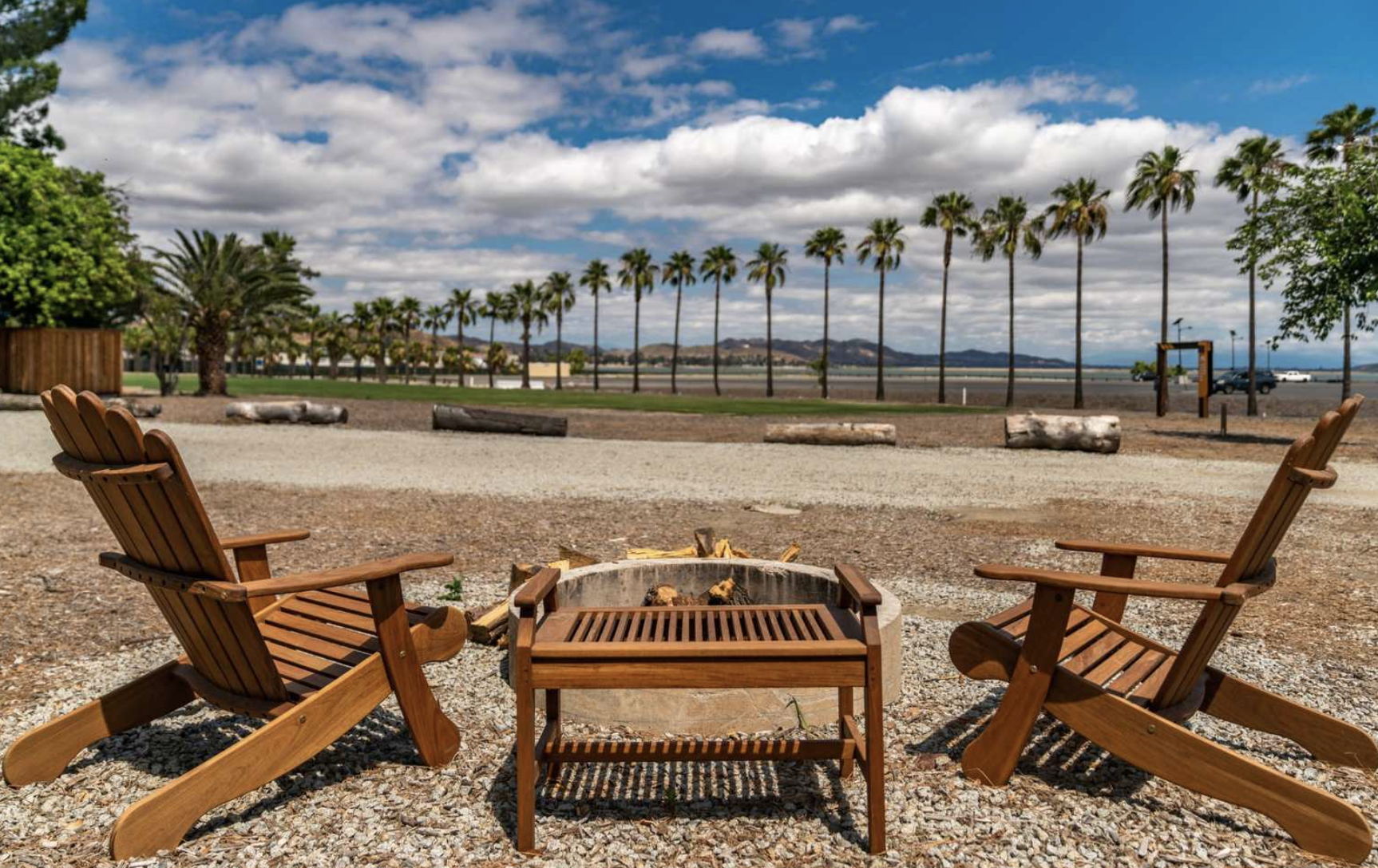 Communal fire pit at Launch Pointe in California