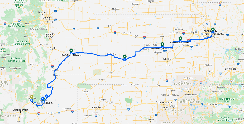 The full Santa Fe Trail route for the 2021 ASC.