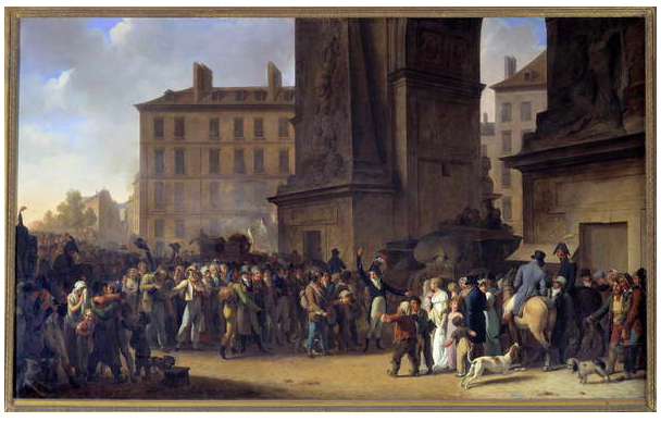 Image of the conscripts of 1807 passing in front of the Porte Saint Denis in Paris Painting by Louis Leopold Boilly (1761 - 1845), 1807 Sun. 0,84 x 1, 38m Paris. Carnavelt Museum, Boilly,Photo © Photo Josse / Bridgeman Images.
