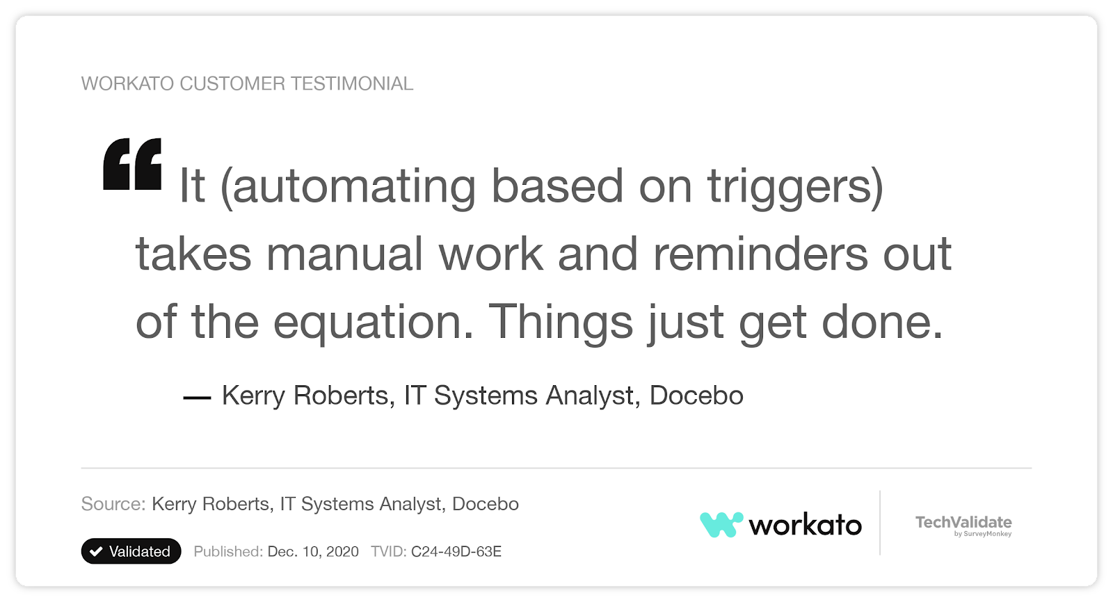 A customer testimonial that cites Workato's ability to streamline manual tasks