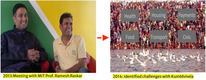 Sunil Khandbahale and Ramesh Raskar experimenting Kumbhathon - technology innovation sandbox during Kumbhmela 2014