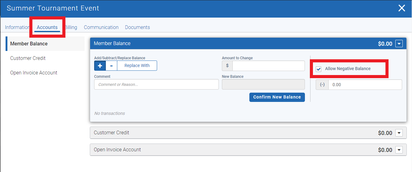 Allow negative balance in event invoice for golf club