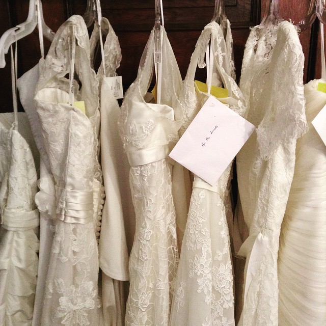 Bride gowns on display in a shop
