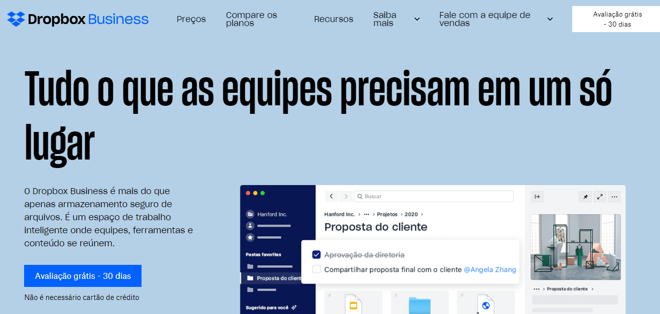 Página inicial do Dropbox business
