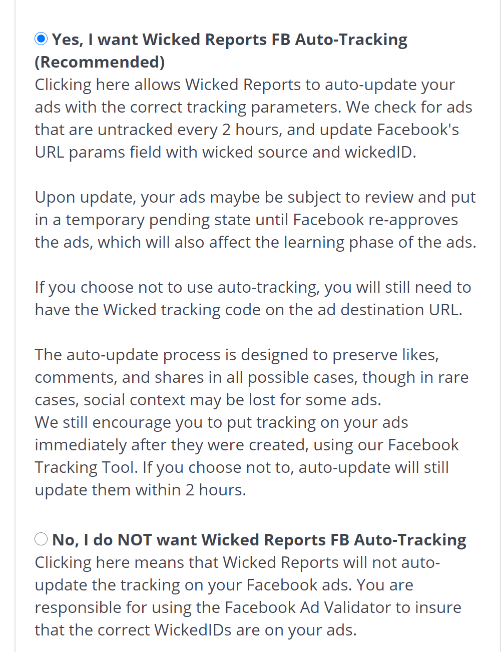wicked reports fb auto tracking