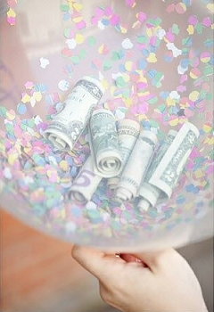 Money inside A balloon