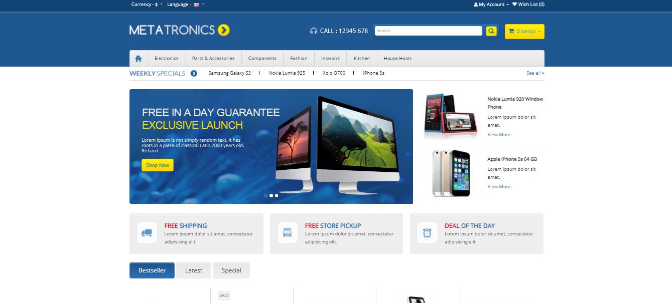 Meta Tronics - Opencart ecommerce theme