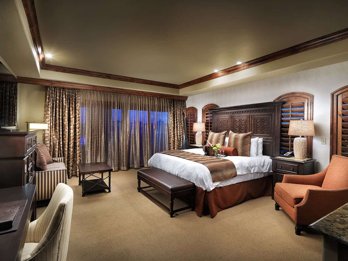 Impeccable room design inside a suite at the Lodge at Flying Horse.