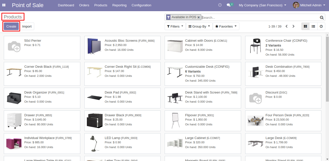 Here you can create a new product from products list.